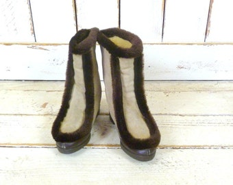 60s/70s vintage tan suede leather faux fur winter snow boots/ski cabin boots/rain boots