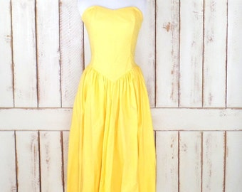 vintage yellow sweetheart neckline strapless cotton sun dress/yellow tea length full sundress/xsmall/small