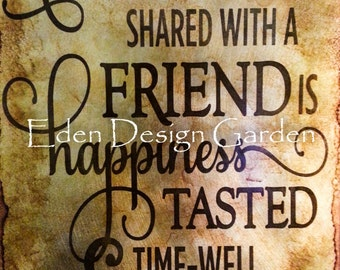"A cup of coffee shared with friends... etched metal sign in caramel, mocha, and brown 8""x12"""