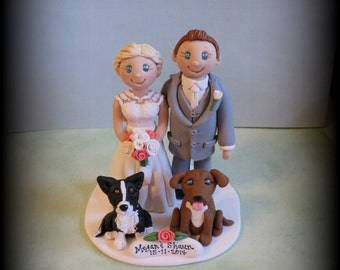 Wedding Cake Topper, Custom, Personalized, Polymer Clay, Bride and Groom with two Pets and Date Plaque, Wedding/Anniversary Keepsake