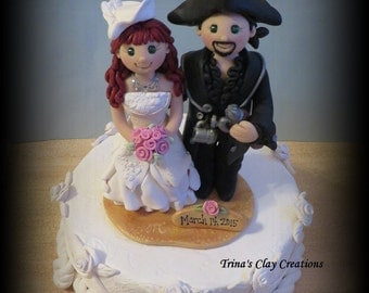 Wedding Cake Topper, Custom Pirate and Renaissance Polymer Clay Wedding/Anniversary Keepsake, Victorian Wedding