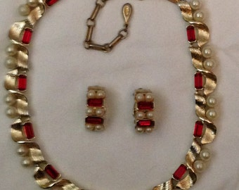 Vintage Lisner Necklace, Earrings, Demi Parure, Signed
