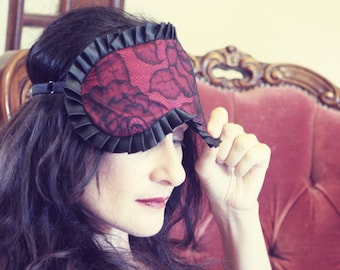 Madame Sleep mask in Burlesque Red Silk with Calais Lace on the front - Love Me Sugar