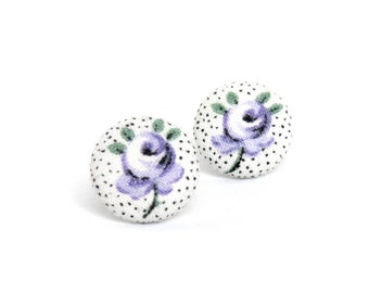 Purple rose fabric earrings - elegant floral fabric earrings - cute stud earrings - black white