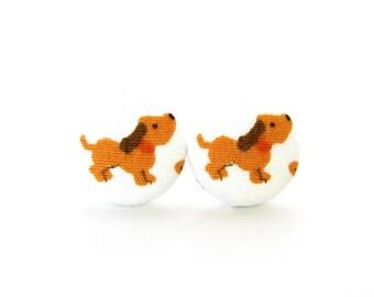 Dog earrings - animal button earrings - kawaii fabric earrings - children kids brown white