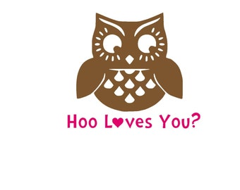 Hoo Loves You Iron On Vinyl Decal