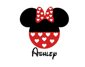 Personalized Valentines Minnie Iron On Vinyl Decal