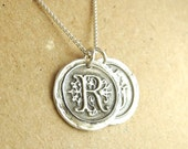 Double Wax Seal Monogram Necklace, Two Initials, Fine Silver, Sterling Silver Chain, Made To Order