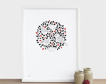 Tree Tops Print - birds new baby home house Christmas happy birthday mothers fathers day white red black leaves limited edition A3 risograph