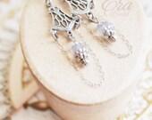NEW - The Era Bridal Collection - Fairlight Earrings - Enchanted Fairytale Elven Wedding Silver Art Nouveau Czech Glass