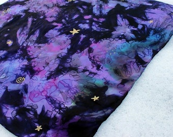 Purple Star Gazer Play Silk ~ Hand Dyed & Hand Painted ~ Waldorf Inspired!