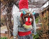 Funky MonKey raver backpack Upcycled Plush Baboon sachel w Rhinestone Jewel Horns and Crystal third eye