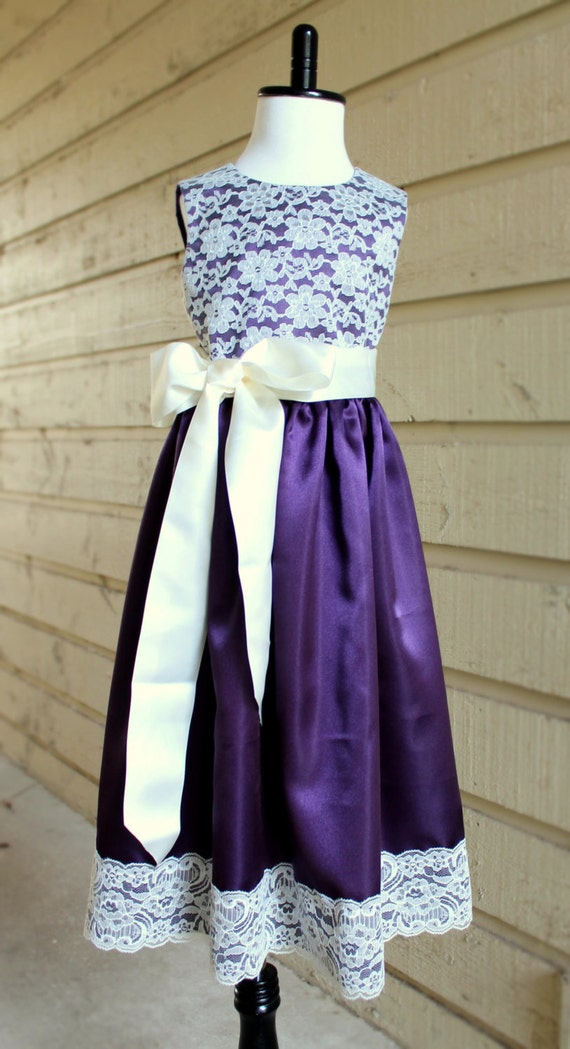 Purple And Ivory Wedding Dresses : Purple satin and ivory lace flower girl dress plum eggplant