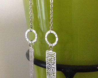 Long earrings silver, silver earrings long, long hoops earrings, geometric long earrings, gift for her, mom, geometric long earrings