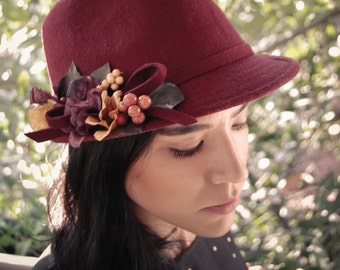 Free shipping, Burgundy Fedora Hat, Accessories for women , Wool Fedora Hat,  Women fashion