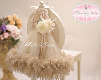 Dreamy Champagne Feathers And Lace Flower Girl Dress