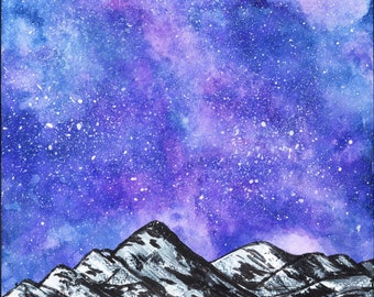 Purple Galaxy Ice Mountain Mixed Media Painting Poster Print, Twilight NASA space program glacier galaxy, Lala land purple sky starry