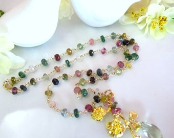 Rainbow tourmaline rosary gold cherry blossom pendant necklace, nature rainbow tourmaline gold sakura Mother's Day gift necklace