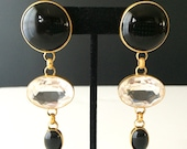 Vintage 1980s Large Black and Clear Stone Dangle Earrings