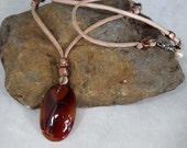 Red Agate Stone Pendant Necklace, Boho Necklace, Stone, Leather Necklace