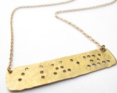 """Braille Inspired """"I LOVE YOU"""" Necklace // Engraved Necklace // Love Necklace // Hand-Stamped // Braille Necklace // Braille"""