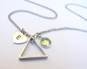 Custom Triangle Charm Necklace // Initial Necklace // Birthstone Necklace // Geometric Necklace // Charm Jewlery // Personalized Necklace