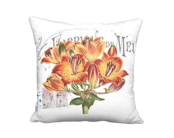 Orange Daylily Pillow Cover - French Cottage Botanical Pillow - 16x 18x 20x 22x 24x 26x 28x Inch Linen Cotton Flower Cushion Cover