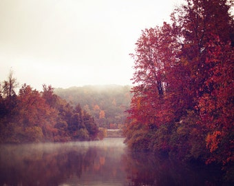 """Autumn Photography - Red Landscape Photo - Foggy Lake - Seasonal Home Decor - Fine Art Photography 8x12, 8x10, 8x8  - """"RED OCTOBER"""""""