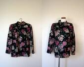 FREE USA SHIPPING / Vintage Ungaro / 80's Wool Floral Shirt / Large