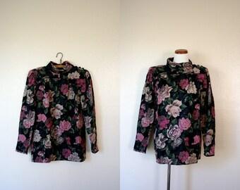 Vintage Ungaro / 80's Wool Floral Shirt / Large