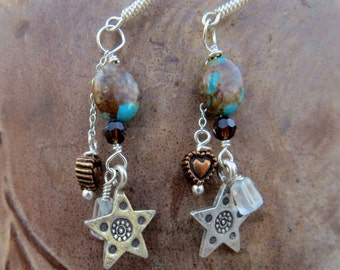 Kingman Arizona boulder turquoise earrings . THE SHERIFF . Karen Hill Tribe silver earrings . copper heart earrings . star earrings . blue