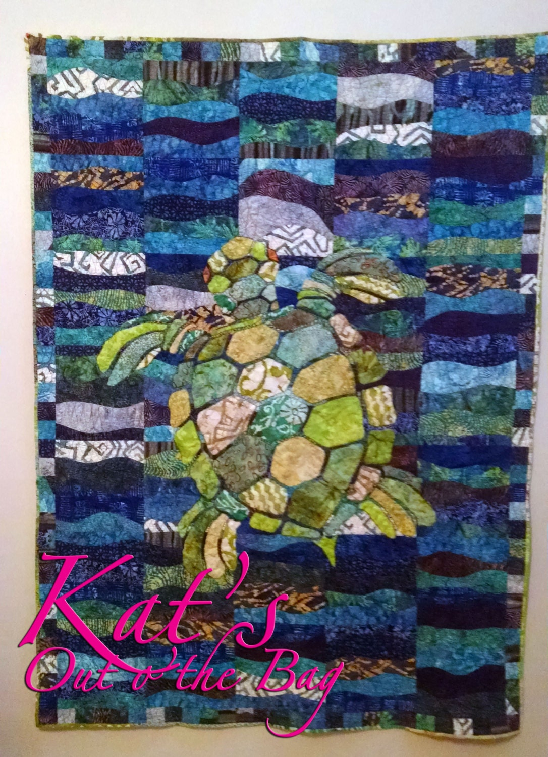 Sea Turtle Quilt Using Blue And Green Batiks