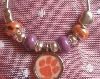 Clemson Tigers European Beaded bracelet,
