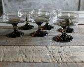 6 Pc Vintage Brown Champagne Glasses