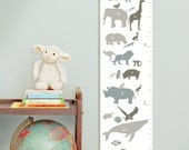 Custom/ Personalized Alphabet Animals canvas growth chart in neutrals