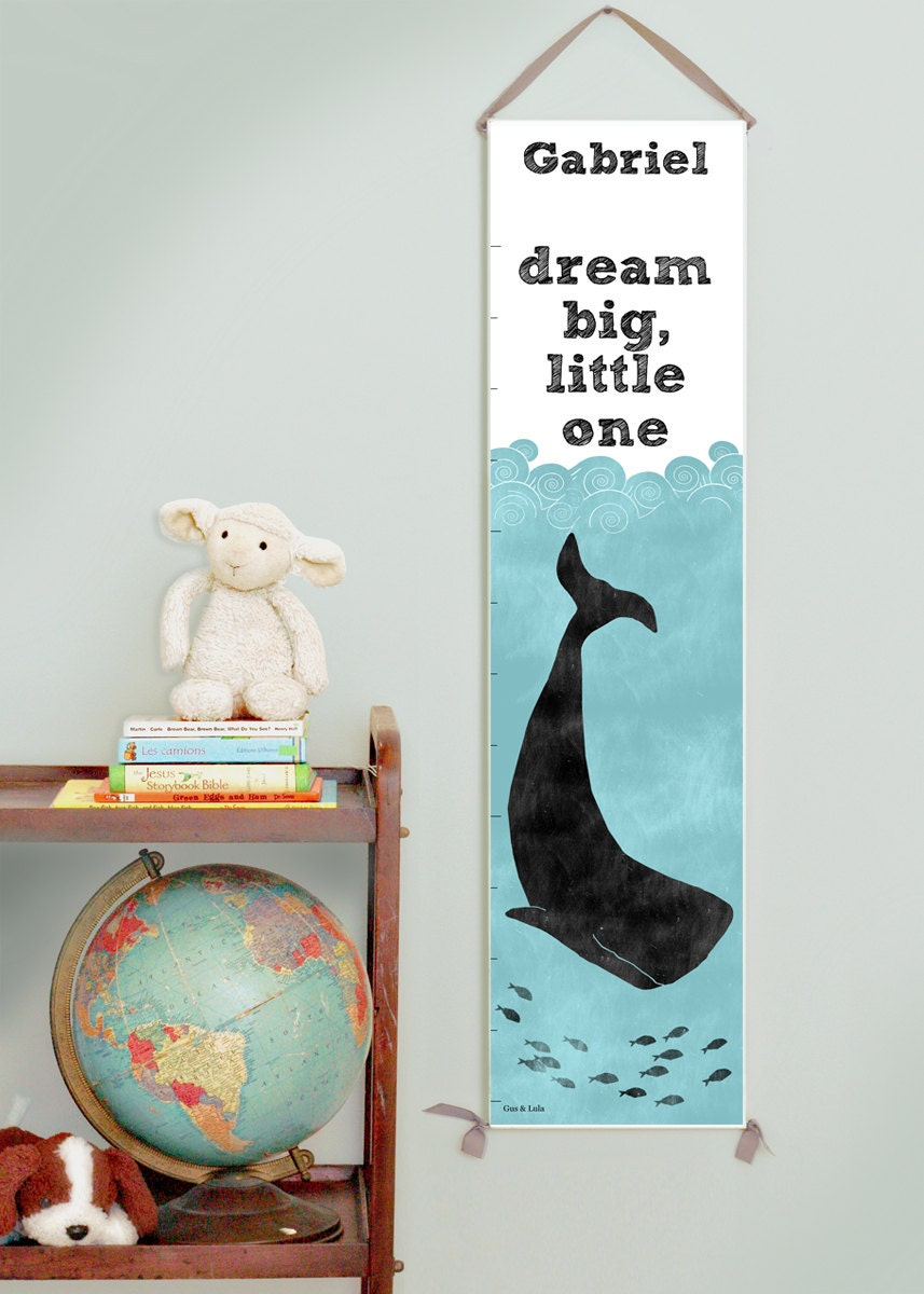Custom/ Personalized Dream Big Little One nautical whale canvas growth chart