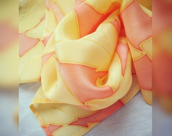 Small square handpainted silk scarf  'Golden leaves' FREE SHIPPING