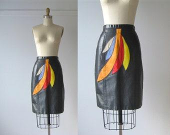 vintage leather skirt / 1980s leather mini skirt