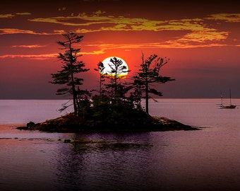Small Island at Sunset by Acadia National Park on Mount Desert Island in Maine No.0192 - A Fine Art Seascape Photograph