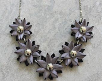 Black Flower Necklace, Short Black Necklace, Black and Silver Necklace, Black Flower Chain Necklace, Dark Gray Necklace, Metallic Necklace