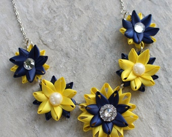 Navy and Yellow Necklace, Yellow and Navy Blue Necklace, Navy and Yellow Wedding, Yellow and Navy Blue Wedding, Unique Bridesmaid Jewelry