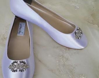 Wedding Shoes Bridal Flats Ivory Ballet Flats or White Bridal Ballet Flats with Brooch Shoes