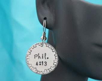 Phil 4:13 Personalized Hand stamped Scripture Earrings