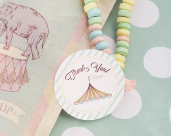 Pink Circus Carnival Favor Tags, Thank you Tags- Printable, Instant Download