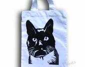 Black Cat Bag  Hand Printed Mini Tote Shopping Bag Children