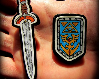 Legend of Zelda Magnets - Hand Drawn Sword and Shield - One of a Kind Artwork