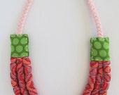Pink and Green Three Strand Cotton Slip Necklace (Baby Friendly)
