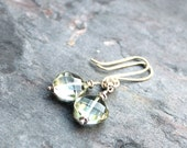 Green Amethyst Earrings Dangle Sterling Silver Prasiolite Earrings Chunky MInt Diamonds