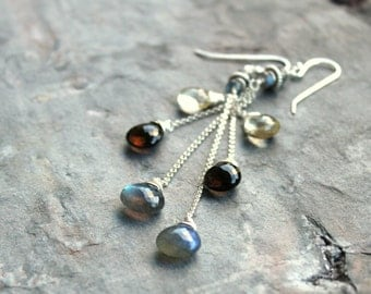 Mixed Gemstone Earrings Multi Sterling Silver Labradorite Scapolite Smoky Quartz Trio Briolette Statement Earrings