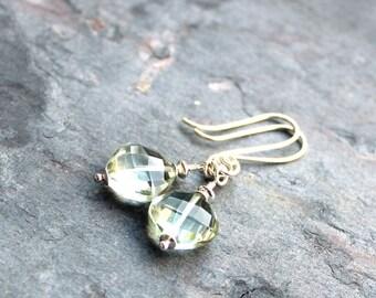 Green Amethyst Earrings Dangle Sterling Silver Prasiolite Earrings Chunky MInt Diamonds